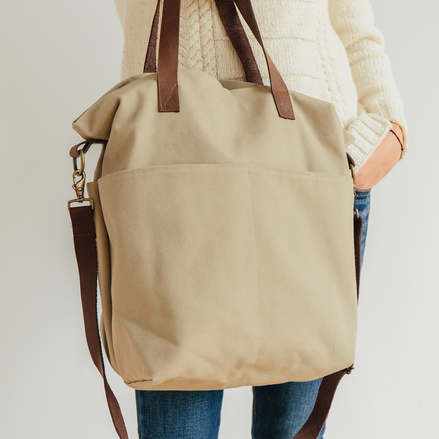 WAXED CANVAS CROSSBODY TOTE - Twig and Horn