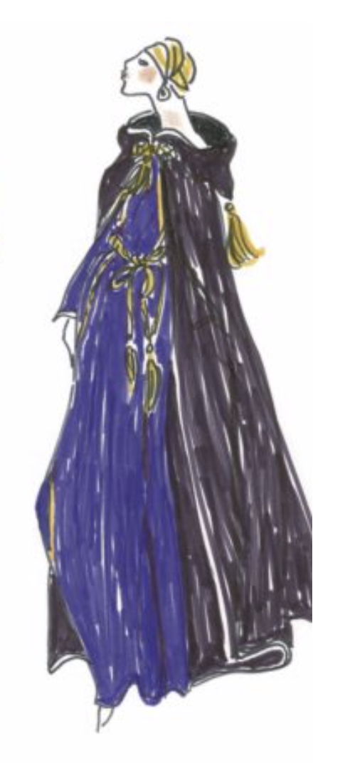 Robe de couleur bleue : Croquis d'Yves Saint Laurent