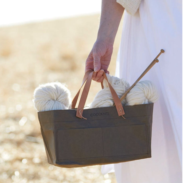 KRAFT CADDY WITH LEATHER HANDLES INCLUDED - Cocoknits